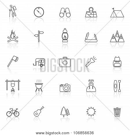 Trekking Line Icons With Reflect On White Background