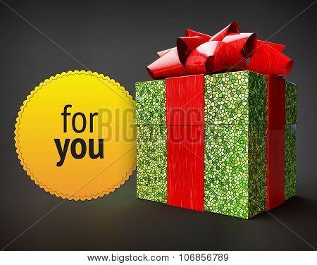 Shiny Giftbox Ribbon Yellow Badge Dark Background Isolated Render