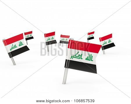 Square Pins With Flag Of Iraq
