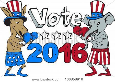 Vote 2016 Donkey Boxer And Elephant Mascot Cartoon