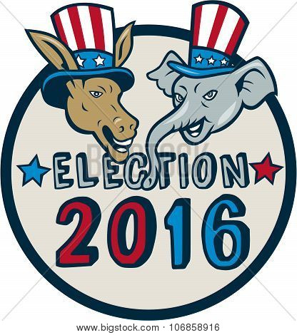 Us Election 2016 Mascot Donkey Elephant Circle Cartoon