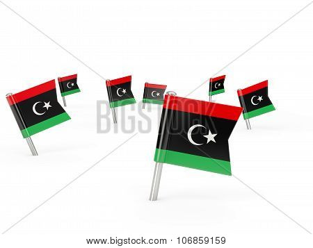 Square Pins With Flag Of Libya