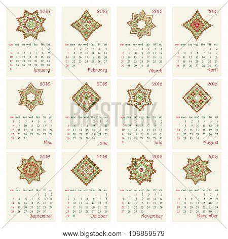 2016 Calendar with ethnic round ornament pattern in red and green colors