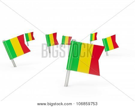 Square Pins With Flag Of Mali