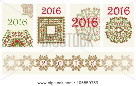 2016 Calendar cover with ethnic round ornament pattern in red and green colors