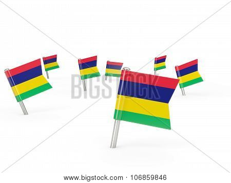 Square Pins With Flag Of Mauritius