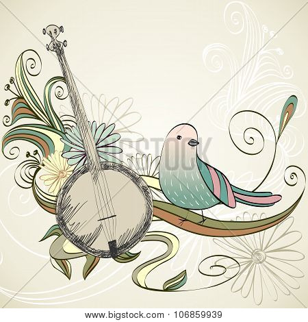 Musical background. Banjo
