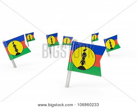 Square Pins With Flag Of New Caledonia