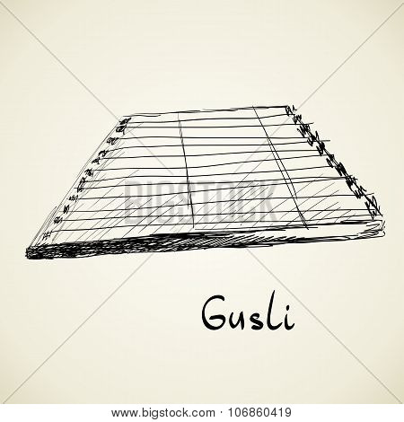 Musical background. Gusli
