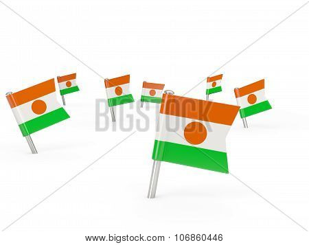 Square Pins With Flag Of Niger