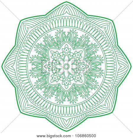 An Illustration Of Doodle Hinduism Religion Mandala Decorative, Sign And Symbol In White Isolated Ba