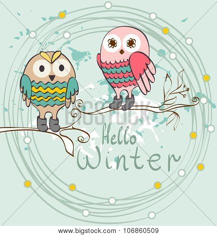 winter cartoon owls