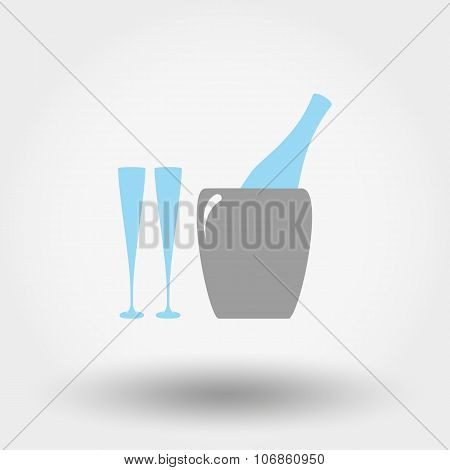 Bottle in ice bucket and glasses icon.