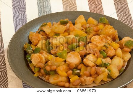 Chicken Sausages With Potato Casseroles.