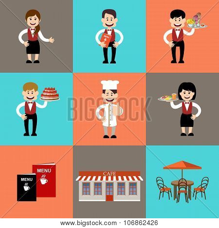 The Service Personnel In Cafe And Restaurants. Vector Illustration