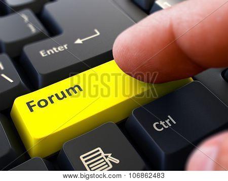 Finger Presses Yellow Keyboard Button Forum.
