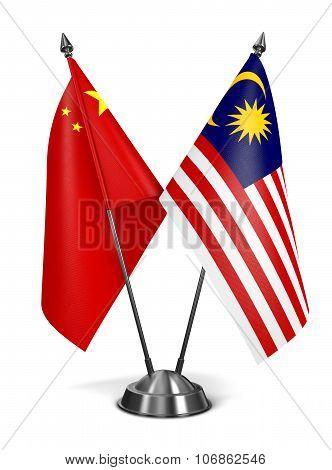 China and Malaysia - Miniature Flags.