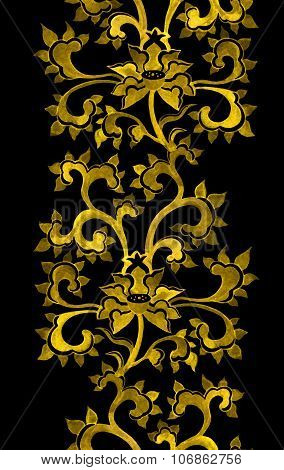 Repeat floral ornamental border with chinese golden flowers.