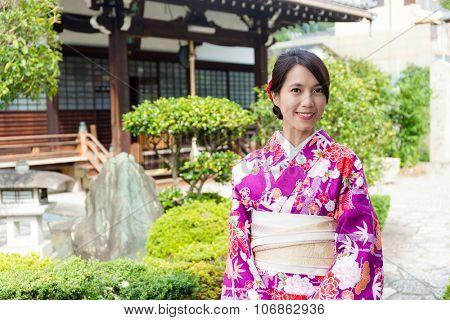 Woman with kimono dress