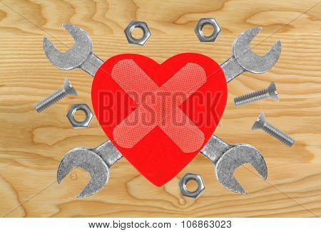 Heart And Tools. Concept: Renovation Of Heart.