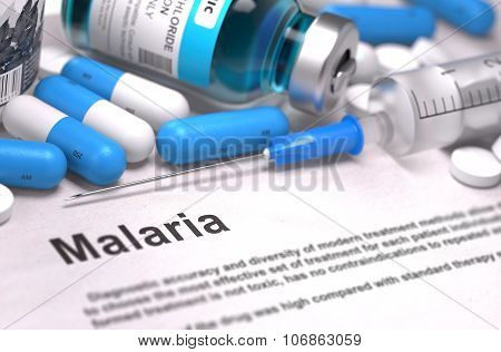 Malaria Diagnosis. Medical Concept. Composition of Medicaments.