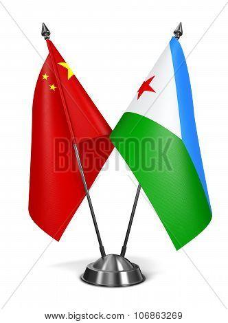 China and Djibouti - Miniature Flags.