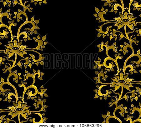 Repeat floral ornamental pattern with chinese golden flowers.