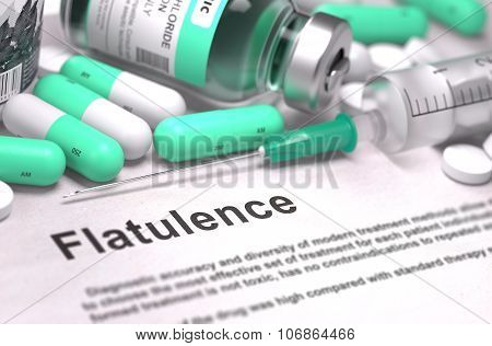 Diagnosis - Flatulence. Medical Concept with Blureed Background.