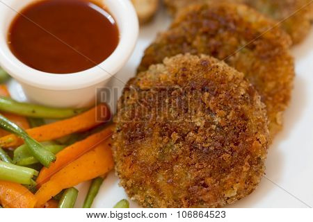 Vegetable Cutlet With Glazed Vegetables