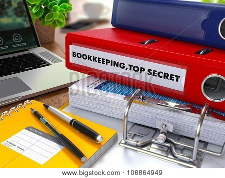 Red Ring Binder with Inscription Bookkeeping,Top Secret.