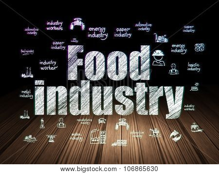 Manufacuring concept: Food Industry in grunge dark room