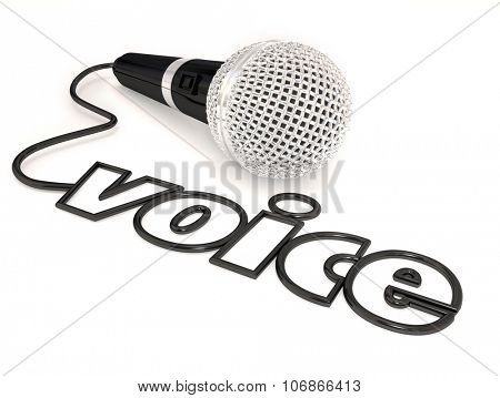 Voice word in a microphone cord to illustrate singing, public speaking or stand-up comedy or performing at a talent show or competition