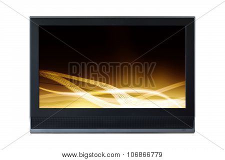 Lcd Television Monitor Partition Gold Abstract Isolated On White Background.