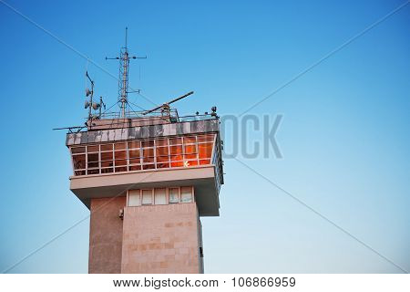 Sea Traffic Control Tower And Sky