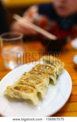 Delicious dumplings served at restaurant in Japan