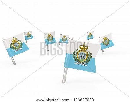 Square Pins With Flag Of San Marino