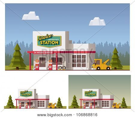Vector flat Car Service building icon