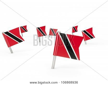 Square Pins With Flag Of Trinidad And Tobago