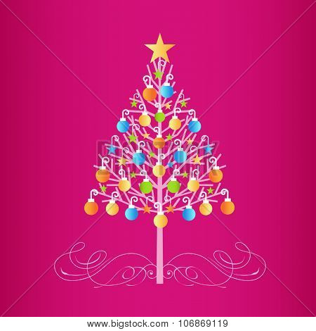 Decorated colorful christmas tree  with baubles  and flourish at  the base