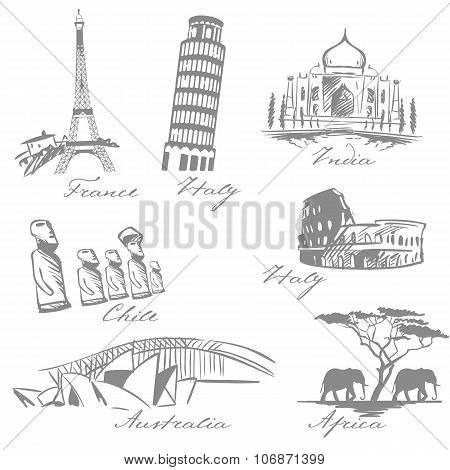 Countries Symbols Sketch