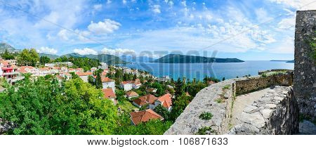Panoramic View Of Herceg Novi And The Bay From The Fortress Wall, Montenegro