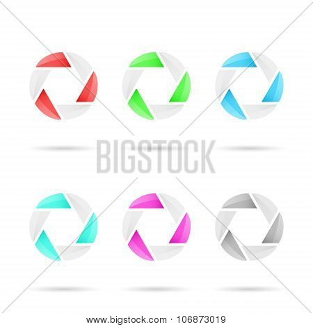 Six Segmented Colored Glassy Circles