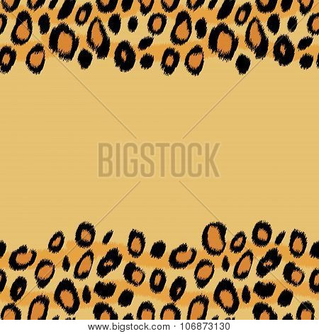 Leopard skin animal print border seamless pattern, vector