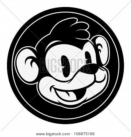 Vintage cartoon. Smiling retro cartoon monkey character in black circle.
