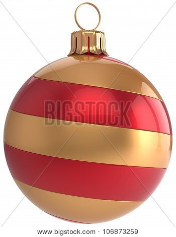 Striped Red and Gold Christmas Ball Decoration