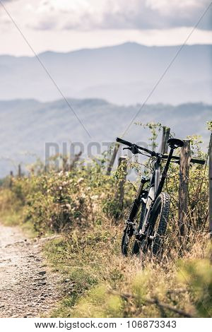 Mountain Bike Mtb On Country Road, Track Trail In Inspirational Landscape