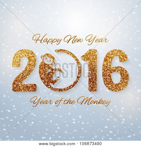 Cute New Year Postcard With Golden Text, Year Of The Monkey, Year 2016 Design, Vector Illustration