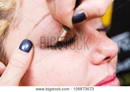 Make-up Artist  Applying Eyebrow Make-up