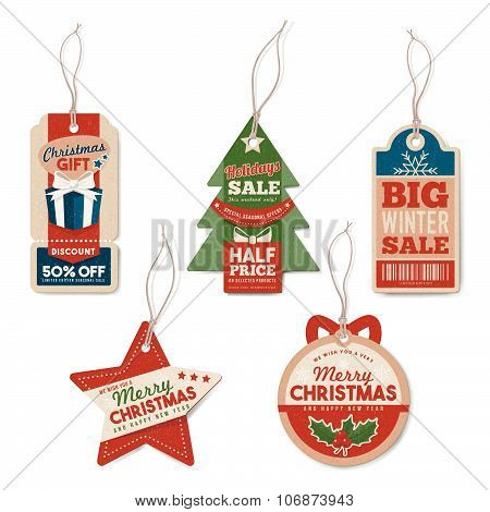 Vintage Christmas Tags With String