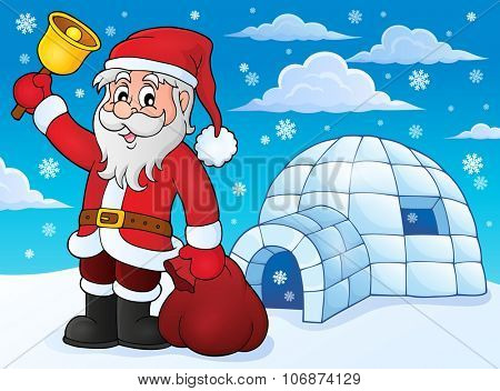 Igloo with Santa Claus theme 3 - eps10 vector illustration.